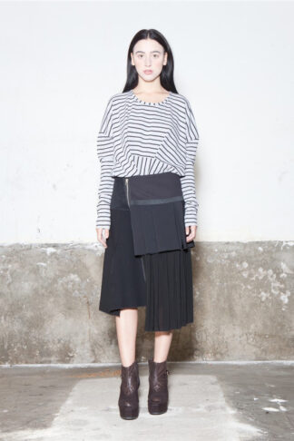 Txell Miras FW19-T02 striped top + FW19-F23 skirt black (2)