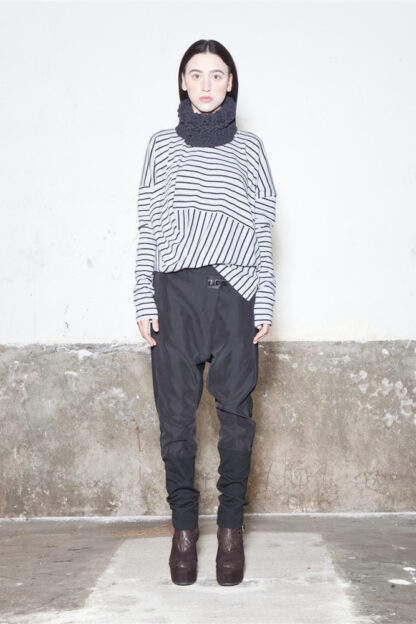 Txell Miras FW19-T02 striped top ratlles + FW19-P32 trousers cupro black