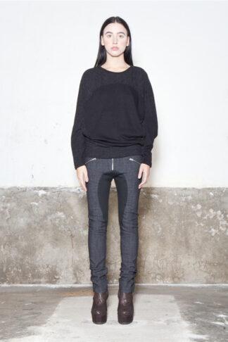 Txell Miras FW19-T07 black-grey top+ FW19-P31 denim skinny trousers