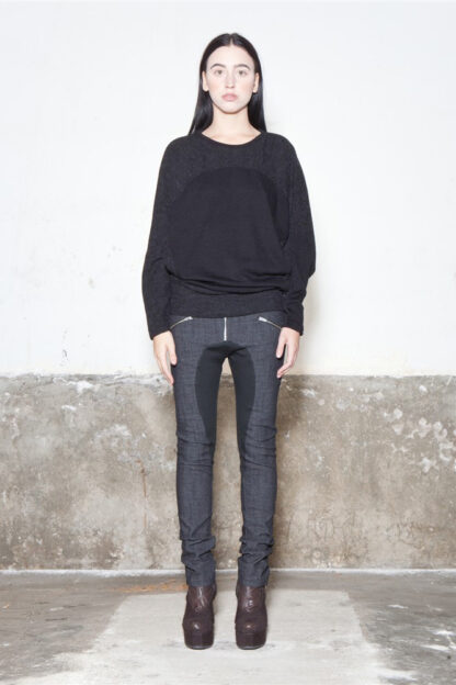 Txell Miras FW19-T07 black-grey top+ FW19-P31 denim skinny trousers
