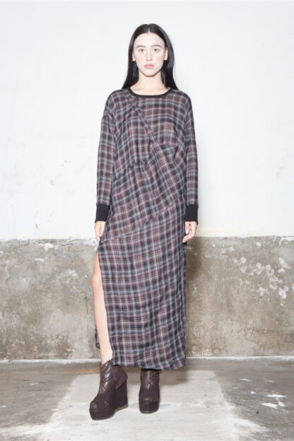Txell Miras FW19-V41 squared long dress vestit quadres vestido cuadros