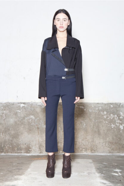 Txell Miras shirt FW19-CA11 bicolor shirt + FW19-P35 tube trousers navy